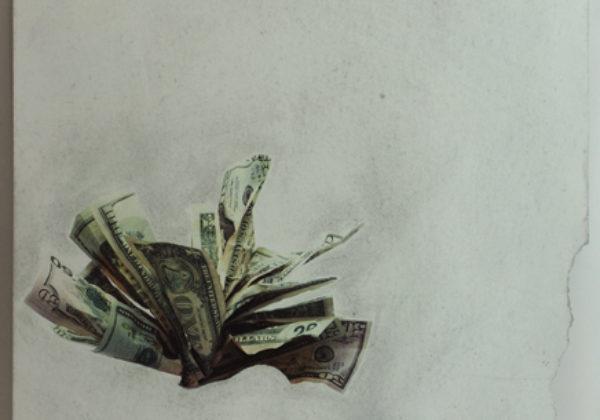 """""""Deficit"""" / Pagina de revista intervenida con papel de lija"""
