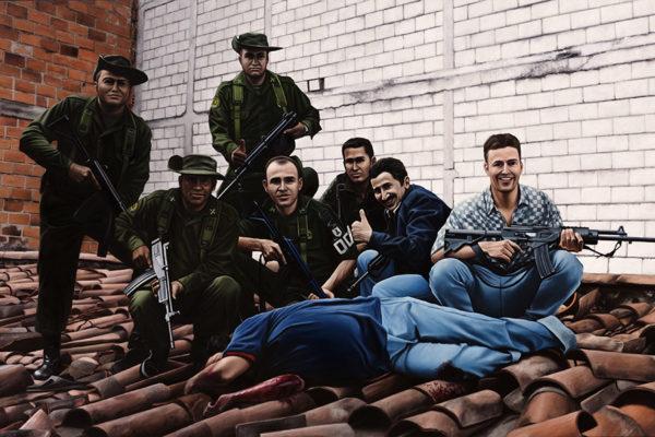 SET / Foto / 150 x 250 cm / Oleo sobre tela / 2017 A partir de la escena que da cuenta de la muerte de Pablo Escobar en un tejado en la ciudad de Medellín en 1993, por parte de una fuerza conjunta de la Policía Nacional de Colombia y la DEA