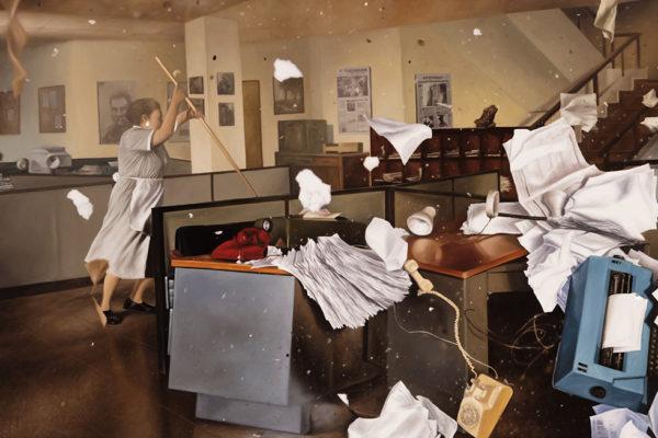 SET / Periódico I / 86 x 130 cm / Oleo sobre tela /2017 A partir de la escena que da cuenta del atentado perpetrado en contra del periódico El Espectador, realizado por el cartel de Medellín en 1989
