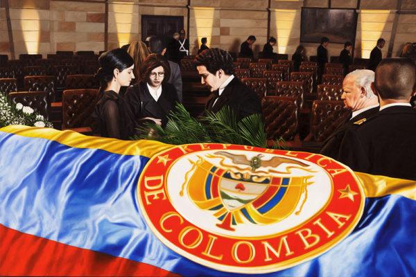 SET / Cámara Ardiente / 100 x 150 cm / Oleo sobre tela / 2017 A partir de la escena que da cuenta de las exequias del Ministro de Justicia Rodrigo Lara Bonilla en el capitolio nacional en 1984