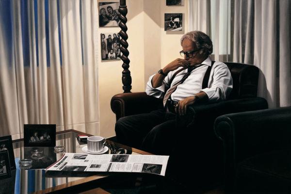 SET / Don Guillermo Cano / 106 x 160 cm / Oleo sobre tela / 2017 Escena que registra a Guillermo Cano, director del periódico El Espectador