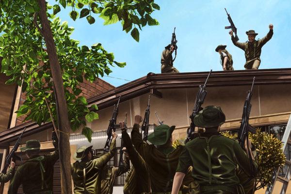 SET / Bloque de Búsqueda / 106 x 160 cm / Oleo sobre tela / 2017 A partir de la escena que registra la Muerte de Pablo Escobar en la ciudad de Medellín en 1993