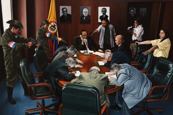 SET / Magistrados  / 106 x 160 cm / Oleo sobre tela / 2017 A partir de la escena que da cuenta de la toma del palacio de justicia por parte del grupo guerrillero M – 19
