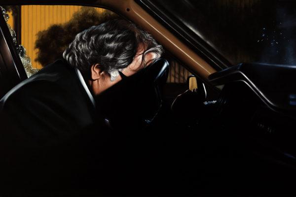 SET /  Subaru Rojo Oscuro  / 95 x 145 cm / Oleo sobre tela/ 2017 A partir de las escenas que dan cuenta del asesinato del director del periódico El Espectador Guillermo Cano en 1986