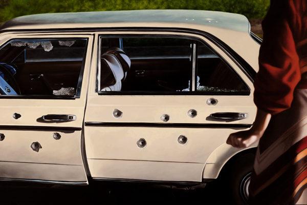 SET / Mercedes Benz / 106 x 190 cm / Oleo sobre tela / 2017 A partir de las escena que da cuenta del asesinato del Ministro de Justicia Rodrigo Lara en 1984